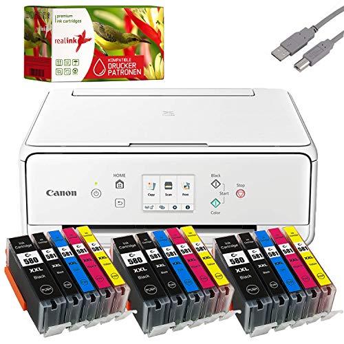 Bundle Canon PIXMA TS6251 Tintenstrahl Drucker Multifunktionsgerät weiß mit 15 komp. realink® Tintenpatronen für PGI-580/CLI-581 XXL (Drucken, Scannen, Kopieren)