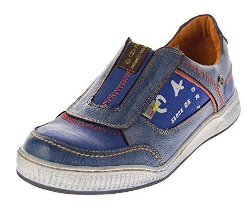 TMA Herren Leder Schuhe Slipper 4104 Halbschuhe Blau Sneaker Comfort Sportschuhe Used Look Gr. 45