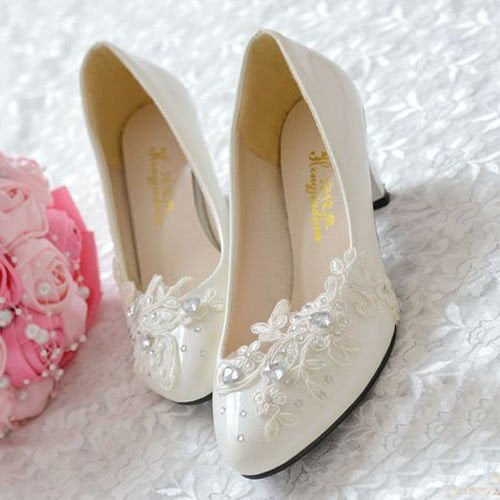 JINGXINSTORE Floral dentelle blanche mariage Mariée chaussure talon haut talon plate-forme de travail