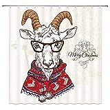 Hand gezeichnete Nashorn Duschvorhang Lustige Tier Dekor Nashorn mit Brille Kopftuch Shirt Dress up in weißen Stoff Savanna Cartoon Wildlife Image, wasserdichte Schwarze Haken enthalten