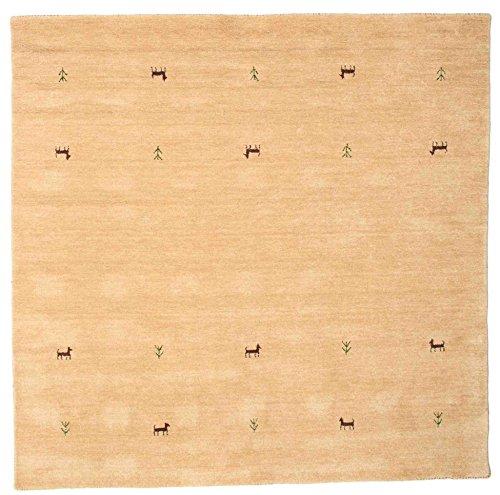 RugVista Teppich Gabbeh Loom Two Lines, Kurzflor, 200 x 200 cm, Quadratisch, Gabbeh, Wolle, Schlafzimmer, Wohnzimmer, Beige