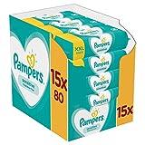 Pampers Lingettes Sensitive, Aident à Protéger la Peau des irritations et Sans Parfum ni Alcool, Lot de 15x80 Lingettes (Total 1200 Lingettes)