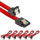 Poppstar 6x cavo dati di 0.5m flessibili Sata 3 HDD SSD, connettore dritto su angolato di ...