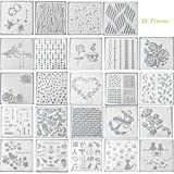 Ai-life 24Pcs Bullet Journal Stencil Plastic Planner Template Set for Journal/Notebook/Diary/Scrapbook DIY Drawing/Card/Wood Burning/DIY CraftTemplate Stencil, 13x13cm