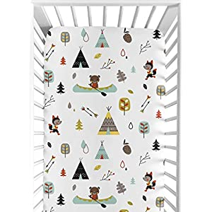Fitted Crib Sheet for Outdoor Adventure Baby/Toddler Bedding – Nature Fox Bear Animals Boys Print