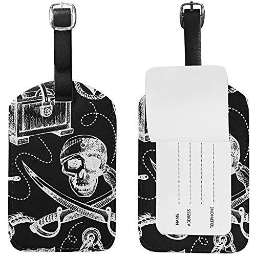 Cráneo Pirata Ancla Patrón de Fortuna Etiquetas de Equipaje Etiqueta de Bolsa de identificación de Viaje para Maleta 2 Piezas