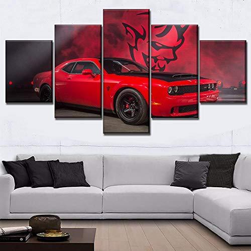 IILSZMT 5 Piezas Impresión En Lienzo Red Muscle Car Dodge Challenger Cuadro Para Sala Estar Póster De Arte Pared Pintura Decoración Hogar 150Cmx80Cm