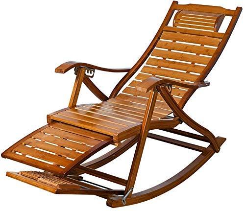 Mecedora reclinable de bambú Silla de madera con reposapiés telescópica y masajeador de pies plegable Jardín Sun mecedora reclinable Patio Tumbona Silla Silla de la siesta de la cubierta del pórtico d