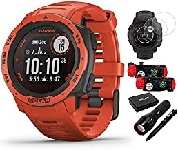 Garmin 010-02293-21 Instinct Solar Rugged Outdoor Watch with GPS Flame Red Bundle with Screen Protector 2-Pack, 2-Pack Emergency Bracelet with SOS LED Light Knife and Flashlight and Tactical Pen Set