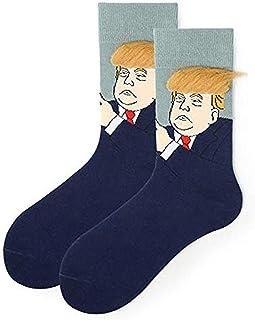 Calcetines de Trump de DYALYD, con pelos, con pelo sintético 3D, calcetines de algodón para hombres y mujeres, estampado de tormenta