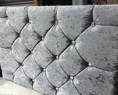 Elegant Beds 32' MARKET STYLE Headboard in Crushed Velvet WITH DIAMONDS 3FT, 4FT, 4FT6, 5FT, 6FT (5FT King, Silver)