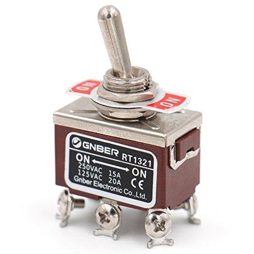 Heschen Metall-Kippschalter, Wechselschalter, zweipoliger Doppel-Umschalt-Schalter(DPDT) mit 2 Positionen An / An, 15A, 250V, Wechselstrom, CE-Kennzeichnung