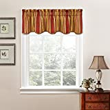 Traditions By Waverly Valances for Windows - Stripe Ensemble Rod Pocket Curtains for Kitchen and Living Room, 52' x 16', Crimson