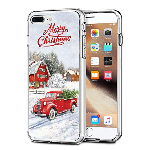 Newseego Compatible with iPhone 7/8 Plus Christmas Case, Shockproof Series Anti-Yellow Hard PC + TPU Bumper Protective Cover for iPhone 7/8 Plus 5.5' Merry Christmas Car Design