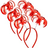 3 Pieces Ponytails Headbopper Faux Feather Ponytails Headband Halloween Costume Headwear Accessory (Red)