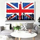 Cuadro en lienzo wall art-modern abstract print en lienzo British mark poster, sala de estar decoración del hogar sin marco30x45cm