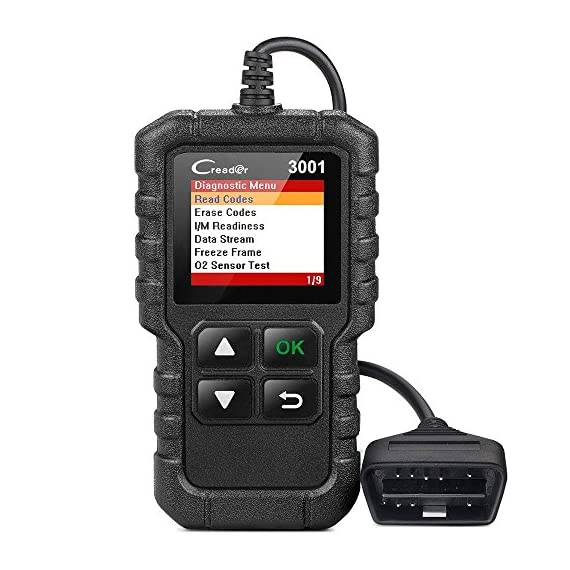 """LAUNCH Creader 3001 OBD2 Scanner Automotive Car Diagnostic Check Engine Light O2 Sensor Systems OBD Code Readers Scan… 1 : LAUNCH Creader 3001 obd2 scanner read and clear fault codes for engine system. In addition, Creader 3001 built in fault codes definition lookup library. LAUNCH Creader 3001 obd2 scanner works on most 1996 and newer US-based vehicles that are OBDII compliant (OBDII protocols: KWP2000, ISO9141, J1850 VPW, J1850 PWM and CAN). """"PLUG AND PLAY"""" scan tool, equipped with a 2. 5 feet long cable and made of a very thick flexible insulator, very easy to use for beginners. : You can use this obd2 scanner to check the status of emission-related monitors misfire system and fuel system, make sure the monitor was set before taking it to smog, help you pass the Smog Check easily, save your money for paying fine tickets. : Turns off the MIL , if you finished repairing the faulty components, then clear the fault codes and turn on the vehicle ignition, it is surprise that you will find the check engine light is off. And more, LAUNCH Creader 3001 obd2 scanner can read the car's information such as VIN number."""