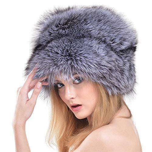 Mongolischer Hut-Herbst-und Wintermode-Faser-Hut Warmer großer runder Hut Hut (Farbe : Silber)