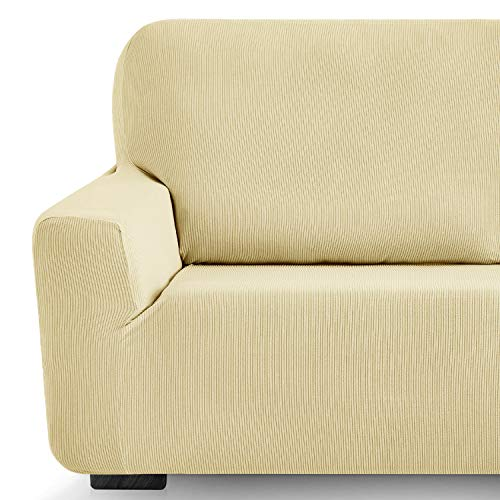 Eiffel Textile Funda de Sofa Milan Elastica Adaptable Lisa, 94% poliéster 6% Elastano, Beige, Set 3+2 Plazas