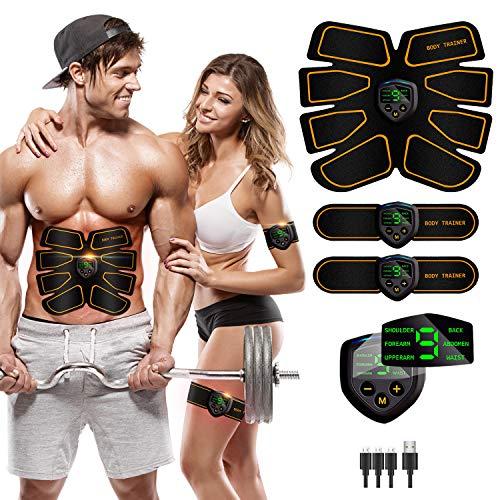 LEMENG EMS Trainingsgerät,Muskelstimulation Elektrostimulation,Bauchmuskeltrainer USB-Wiederaufladbarer Tragbarer Muskelstimulator,für Bauch,Arm,Bein-Fitness Trainings Gang