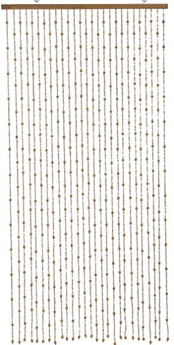 """Natural Wood and Bamboo Beaded Curtain-Bamboo and Wooden Doorway Beads-Boho Bohemian Curtain """"Boho"""" 27 Strands 3ft Wide 6ft Long-36 W x 72"""" H (Ivory, 1Pc 3FTx6FT)"""