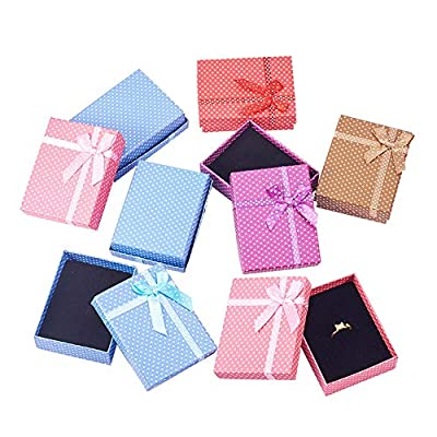 PH PandaHall 15 Pcs 5 Colors 3.5x2.7x1 Inch Cardboard Jewelry Gifts Boxes with Sponge Pad and Ribbon Bowknot for Jewelry Rings Necklaces Bracelet Earrings Watch Packaging Box