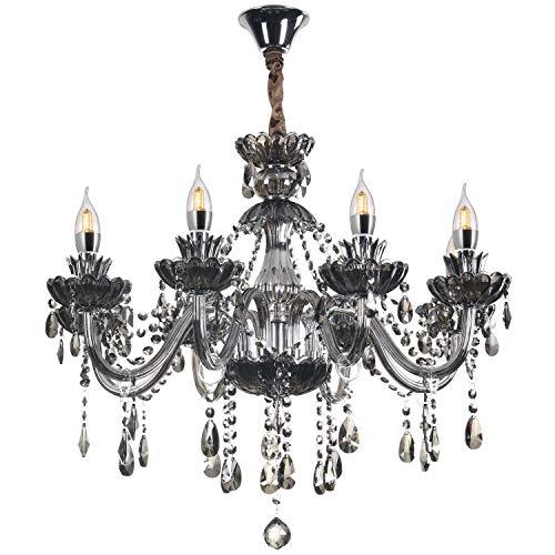 Crystal Chandelier,Chandelier for Living Room,Bedroom,Dinning Room Ceiling Chandelier Crystal Pendant Lighting Fixture (8 Lights) Package Include U Disk Installation Video