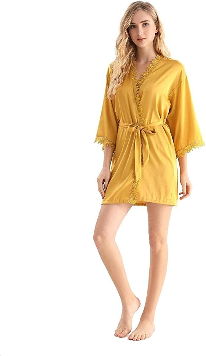CALSUZ Women Satin Short Robe Silk Bridesmaid Lingerie Nightgown with Lace Trim V-Neck and Cuff