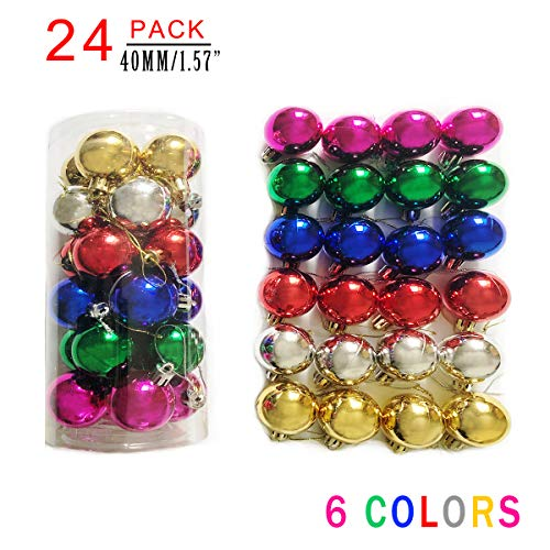 AllBeauty 24ct 40mm Christmas Balls Ornaments Essential Christmas Tree Decorations Shatterproof Christmas Decorations Indoor for The Home Holiday Christmas Party Decoration (6 Colors, 24ct)