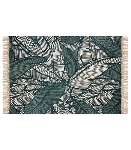 Atmosphera - Tapis décoratif en Coton Vert Jungle 120x170 cm