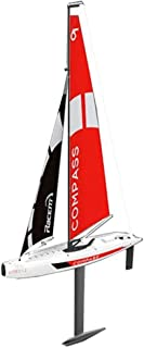 IBalody Creative Large Remote Control Sailboat 2.4G 4CH Simulation Unpowered RC Boat Compass Pre-Assembled Sailboat DIY Wireless Remote Control Toy Christmas Birthday Gift