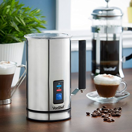 VonShef Milk Frother Electric Premium Stainless Steel Dual Function - Warmer for Hot and Cold Milk, Latte Cappuccino Foamer