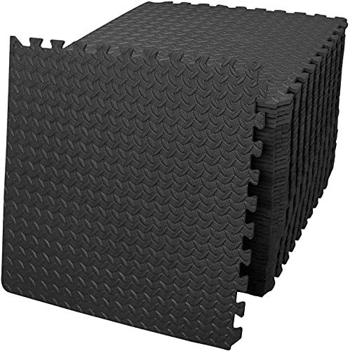 Schutzmatten 60 x 60cm Schutzmatte Trainingsmatte Puzzlematte Unterlegmatten Poolmatte Fitnessmatten für Bodenschut für Bodenschutz, Büro, Fitnessraum, Bordures (Schwarz -8 Stück)