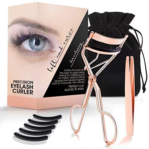 Eyelash Curler Kit (Rose Gold), Premium Lash Curler for Perfect Lashes, Eye Lash Curler with Refill Pads, Tweezers and Satin Bag, Best Eyelash Curler for No Pinching, Eye Lashes Curler