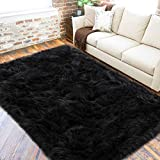 LOCHAS Ultra Soft Fluffy Rugs Faux Fur Sheepskin Area Rug for Bedroom Bedside Living Room Carpet Nursery Washable Floor Mat, 3x5 Feet Black