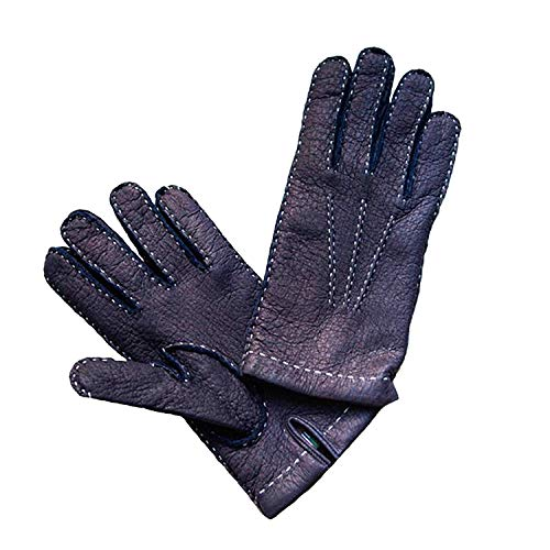 Handschuhe Vollleder Leder Peccary Peccari Pecari Herren Cashmere Kaschmir Gefütterte Futter Feine Italienische Italien Made Italy Leder Oldtimer Stronghand Stulpen Fahrer Faust Kurze Blau (7)