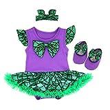 OBEEII Vestido de Halloween Mermaid para Bebe Niña Sin Manga Romper Dress Trajes de Mamelucos Sirena para Ceremonia Carnaval Cosplay 3Piezas Ropa Diadema Zapatos 3-6 Meses