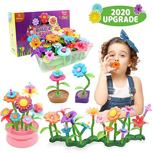 YORKOO Kinder Blumengarten Spielzeug für Mädchen DIY Bouquet Sets für Kinder Blume Bausteine Outdoor Spiele für Kinder Geschenke ab 3 4 5 6 Jahre Mädchen (150pcs)