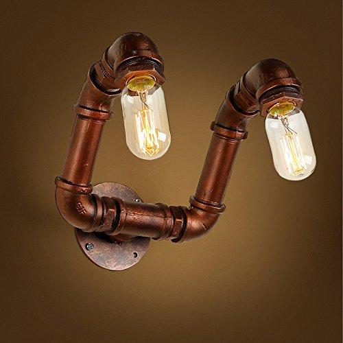 Amerikaans landschap bar slaapkamer gang waterpijp wandlamp industrieel retro strijkijzer, de oude dubbele kop wandlamp 22 * 23 cm.