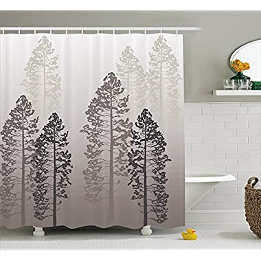 Ambesonne Country Shower Curtain, Pine Trees in The Forest on Foggy Seem Ombre Backdrop Wildlife Adventure Artwork, Fabric Bathroom Decor Set with Hooks, 75 inches Long, Warm Taupe