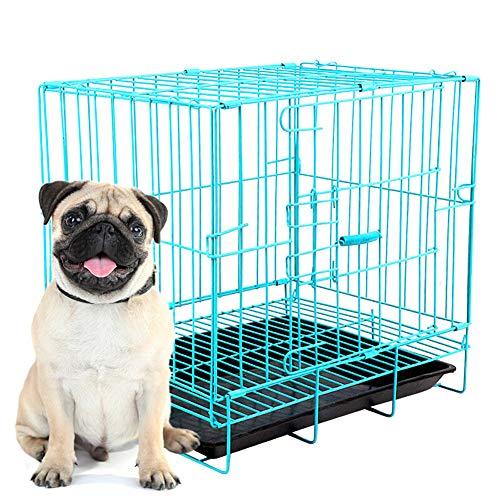 ZWW Hundekäfig, Blau Tragbar Klein Katzenkiste Wildgehege Hundehütte Mit Schiebedach & Tablett Geeignet Für Haustiere Bis 5 Kg