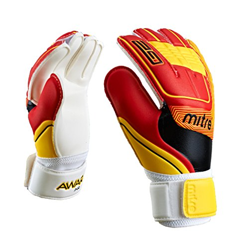 Mitre Kinder Awara Junior Torwarthandschuhe, White/Red/Yellow, Size 4