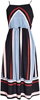 Limsea 2019 Women Cami Dress Slash Neck Empire Color Block Striped Print Beach