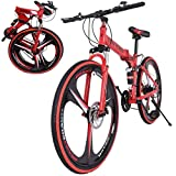 26 Inch Bikes Folding Bicycle Mountain Bike Dual Disc Brake, 21-Speed, Lightweight and Durable for Men Women Bike (Red)
