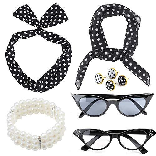 Beelittle 50's Damen Kostüm Accessoires Set Polka Dot Chiffon Schal Bandana Krawatte Stirnband Ohrringe Retro Cat Eye Eglasses Perlen Armband (Schwarz)