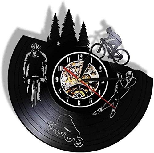 ZYBBYW Reloj de Pared Reloj de Pared de Vinilo Bicicleta Registro Retro Patinaje sobre Ruedas silencioso Reloj de Pared Scooter Patinador Amante de los Deportes Regalo decoración