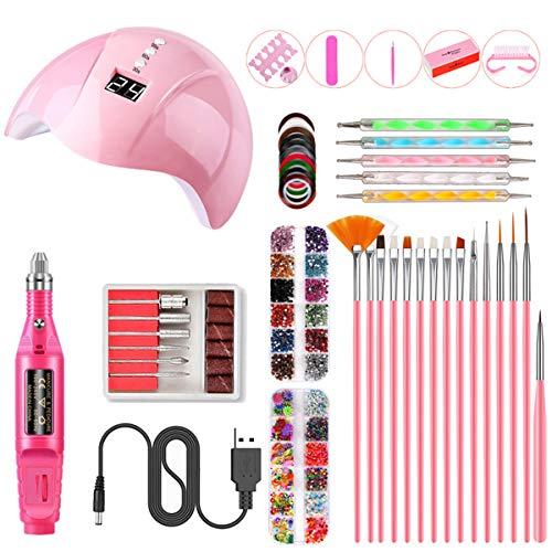 BigBig Style Winkel UV Nagel Lamp Starter Kit, 36 W Gel Nagel Pools Genezen Lamp Manicure Tool Set met Elektrische Nail Boor Nagel Bestand roze