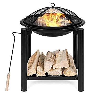 Best Choice Products 21.5-inch Outdoor Fire Pit Bowl Table and Storage for Patio, Backyard w/Shelf, Fire Spark Guard, Log Grate, Poker, Water-Resistant Cover, Black