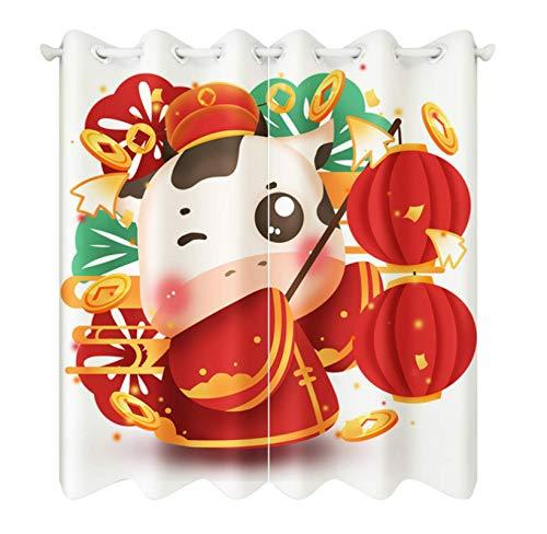 Cartoon New Year Small Cattle Pattern Blackout Short Curtains Fabrics Christmas Decor Roman Rod Curtain For Living Room 280X250Cm