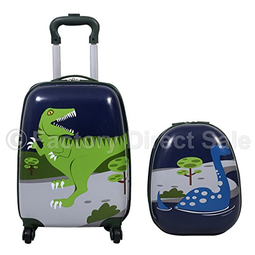 Buy Cheap GHP Dinosaur Hard Shelled Kids' 16 Trolley Case & 12 Backpack Luggage Set